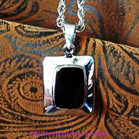 Black Onyx .925 Sterling Silver Signed Pendant - For Men Or Women Pendants