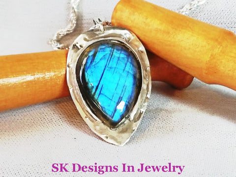 Blue Flash Labradorite Pendant - .925 Sterling Silver Mens Or Womens Pendants