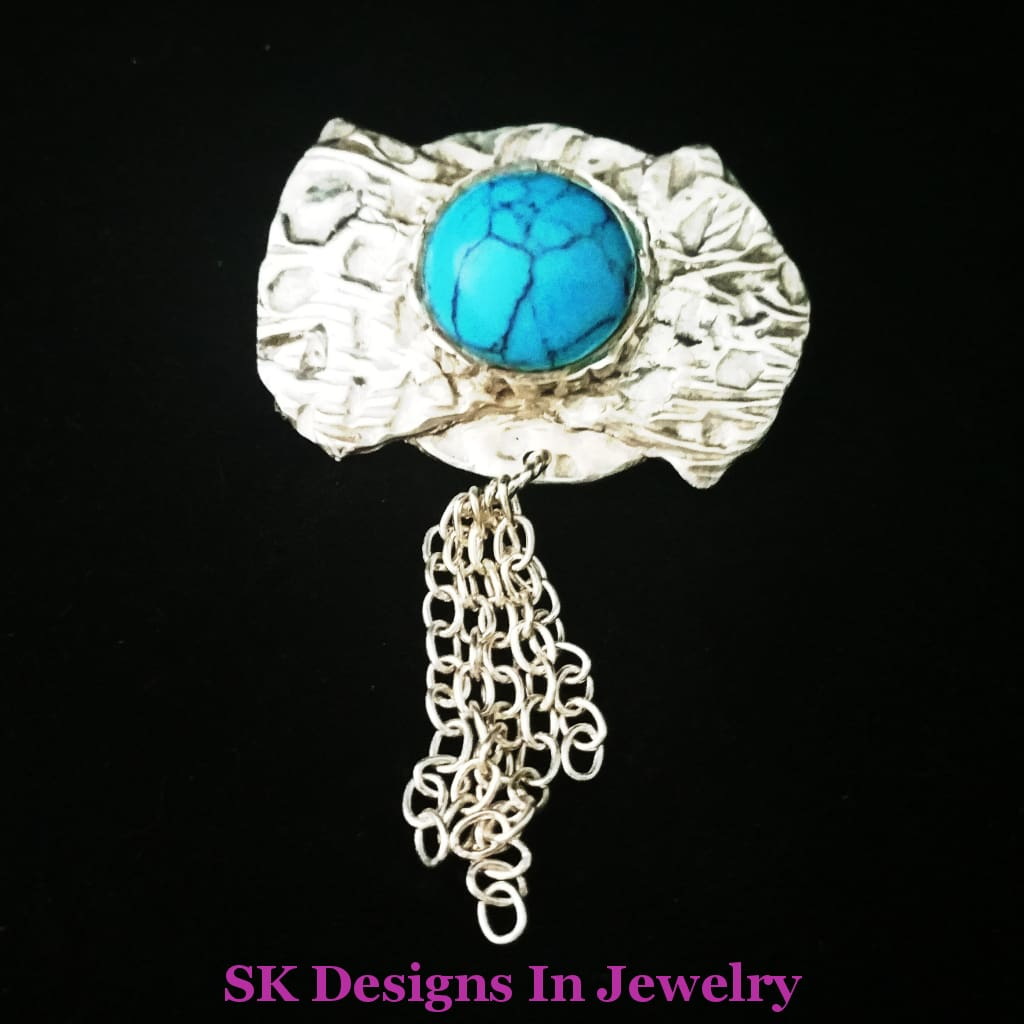 Bolo Style Country Western Pin - .925 Sterling Silver & Turquoise Pendant