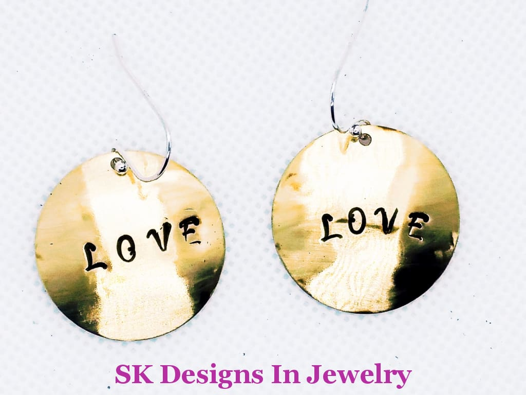 Brass Love Earrings - Sterling Silver Ear Wires Hand Stamped Childrens Or Womens Earrings