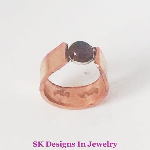 Copper And Garnet Ring Us Size 9 Artisan Mens Or Womens