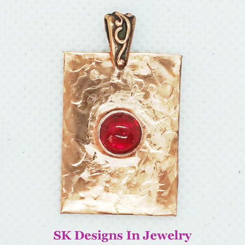 Copper And Ruby Pendant Artisan 10Mm Handmade In The Usa