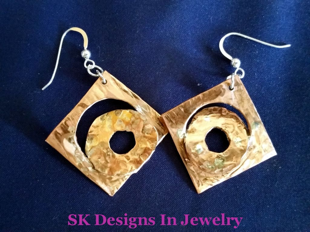 Copper And Sterling Silver Hook Earrings - One Of A Kind Abstract Design Other Jewelry