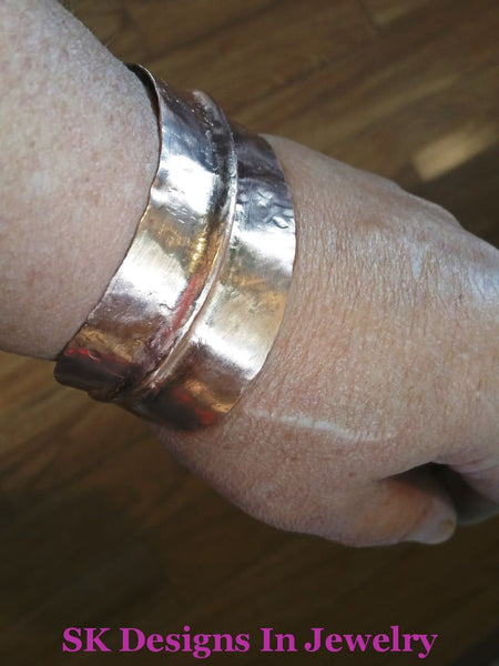 Copper Cuff Bracelet - Fold Formed Adjustable Mens Or Womens Bracelet