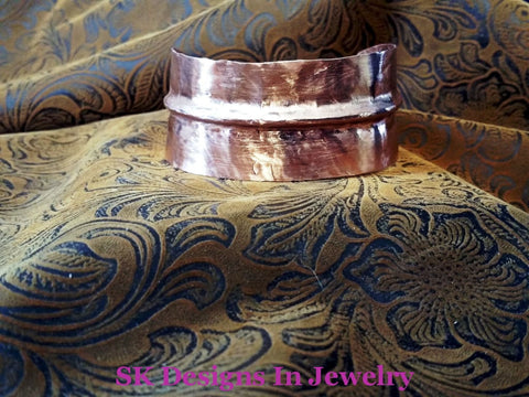 Copper Cuff Bracelet - Fold Formed Adjustable Mens Or Womens Solid Bracelet