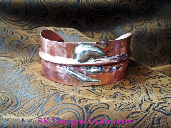 Copper Cuff Bracelet - Fold Formed Adjustable Mens Or Womens & Sterling Silver Bracelet