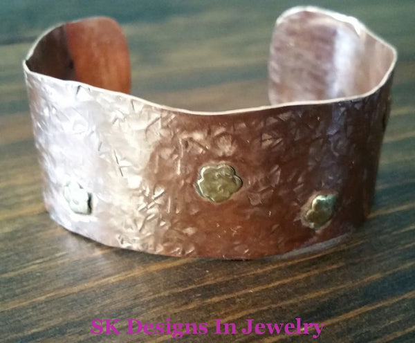 Copper Cuff Bracelet With Brass Flowers - Mixed Metals Bracelet