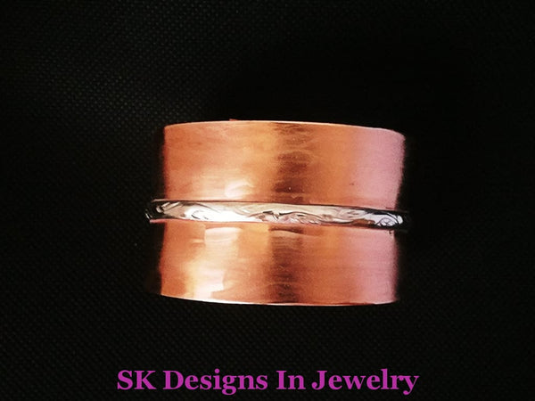 Copper Cuff Wide And Silver Bracelet Artisan Made In The Usa Men Or Womens Bracelet
