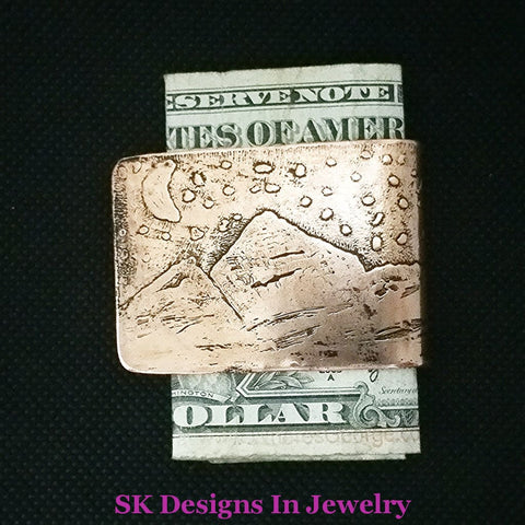 Copper Money Clip Handmade Etched Mountains Moon & Stars Scene Mens Accessories Artisan Other