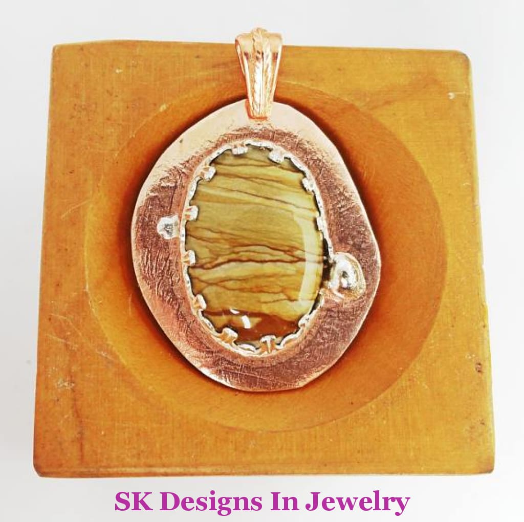 Copper Pendant Picture Jasper And Sterling Silver - Mixed Metals Artisan Made In The Usa