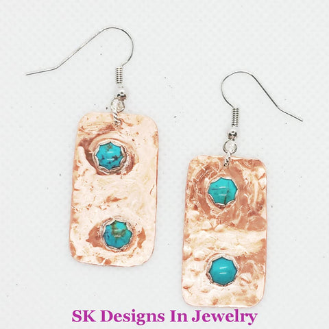 Copper & Turquoise Earrings - .999 Fine Silver Bezel Settings Stainless Steel Ear Wires Artisan Made
