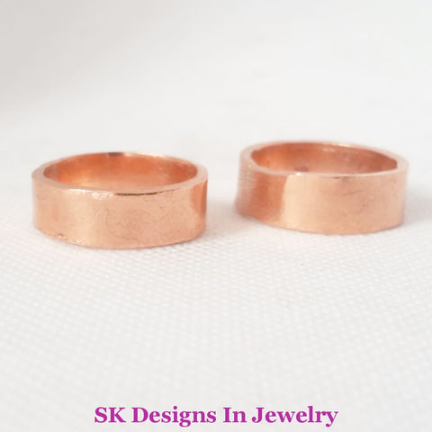 Copper Wedding Band Set Artisan Bands Handmade In The Usa - Mens & Womens