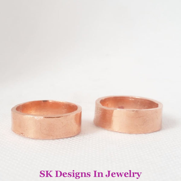 Copper Wedding Band Set Artisan Bands Handmade In The Usa