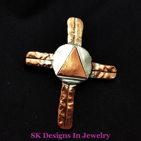 Cross Pendant - Copper And Sterling Silver Aa Symbol Mens Or Womens Other Jewelry