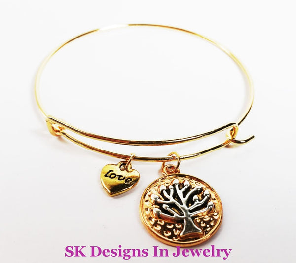 Designer Charm Bracelet With Tree Of Life & Heart Love Charms Gold Tone Bracelet
