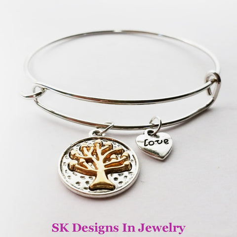 Designer Charm Bracelet With Tree Of Life & Heart Love Charms Silver Tone Bracelet