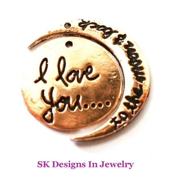 Designer Inspired Bangle Charm Bracelet With I Love You To The Moon & Back Set Copper A W/charm