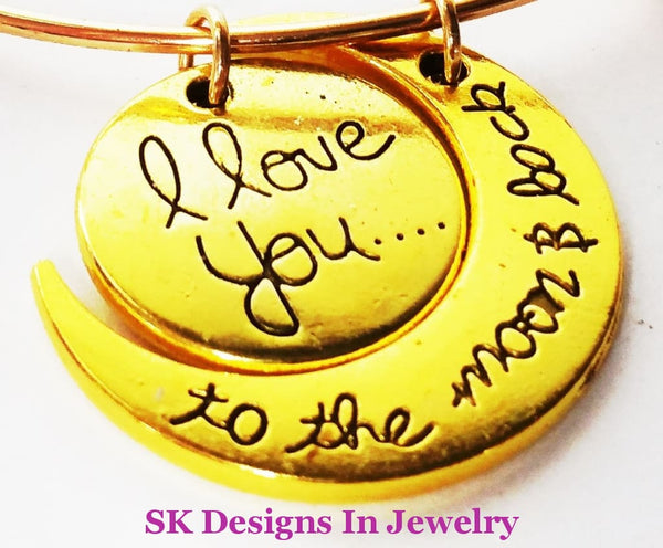 Designer Inspired Bangle Charm Bracelet With I Love You To The Moon & Back Set Gold A W/charm