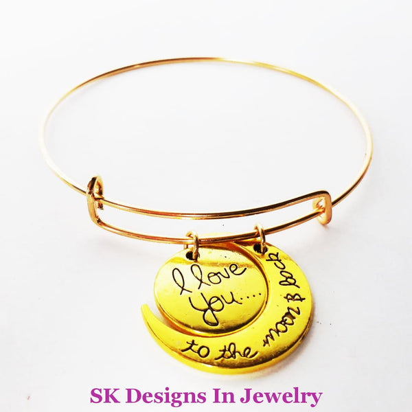 Designer Inspired Bangle Charm Bracelet With I Love You To The Moon & Back Set Gold On Alex Ani