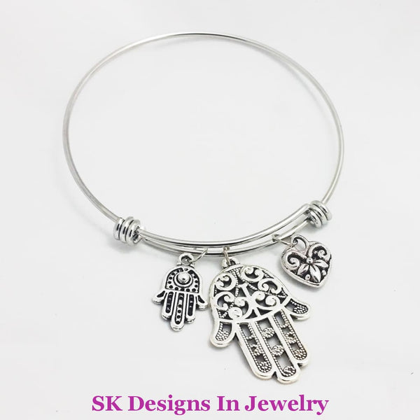 Designer Inspired Charm Bracelet With Hamsa / Fatima Hand & Heart Love Charms A W/charm