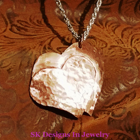 Double Heart Pendant In Copper Or .925 Sterling Silver