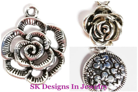 Flower Charms - Roses & Hibiscus Flowers Designer Inspired Charms For A Bracelets