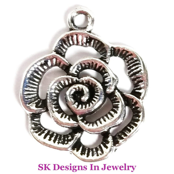 Flower Charms - Roses & Hibiscus Flowers Designer Inspired Open Rose Charms For A Bracelets