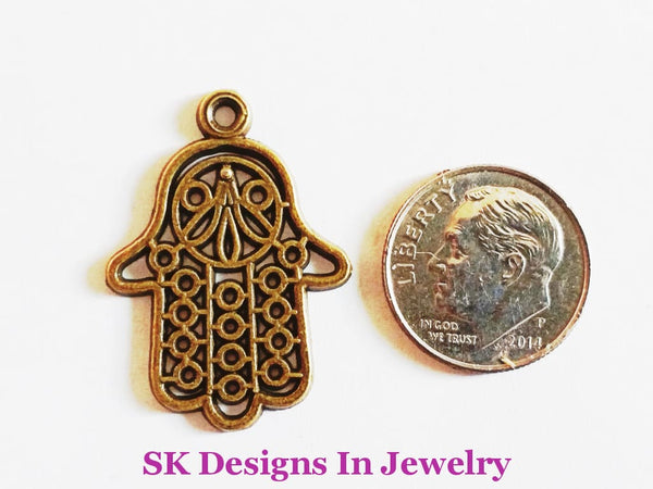 Hamsa Hand/fatima Hand Assorted Charms For Alex & Ani Inspired Charm Bracelet Large Antique Brass A