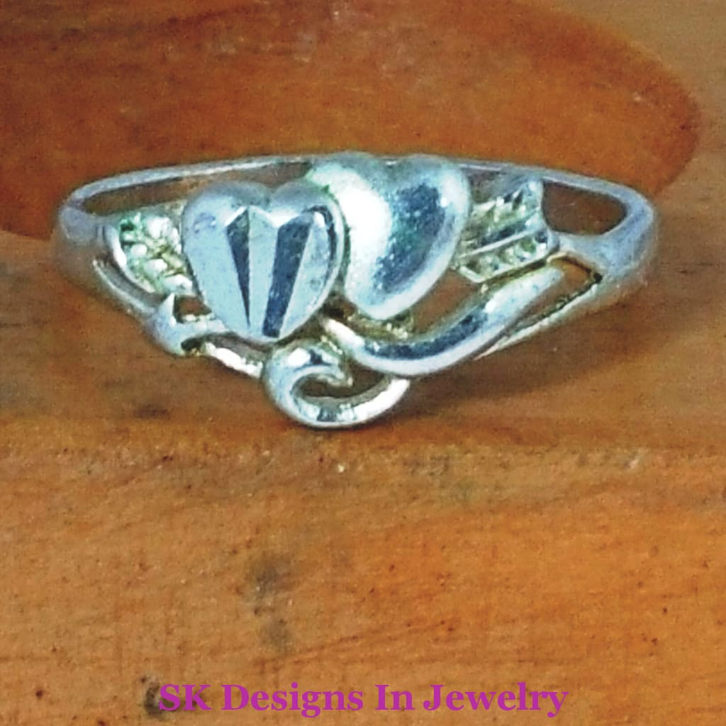 Heart Ring - Double Promise Friendship Size 6 And 7 Available Great For Valentines Day