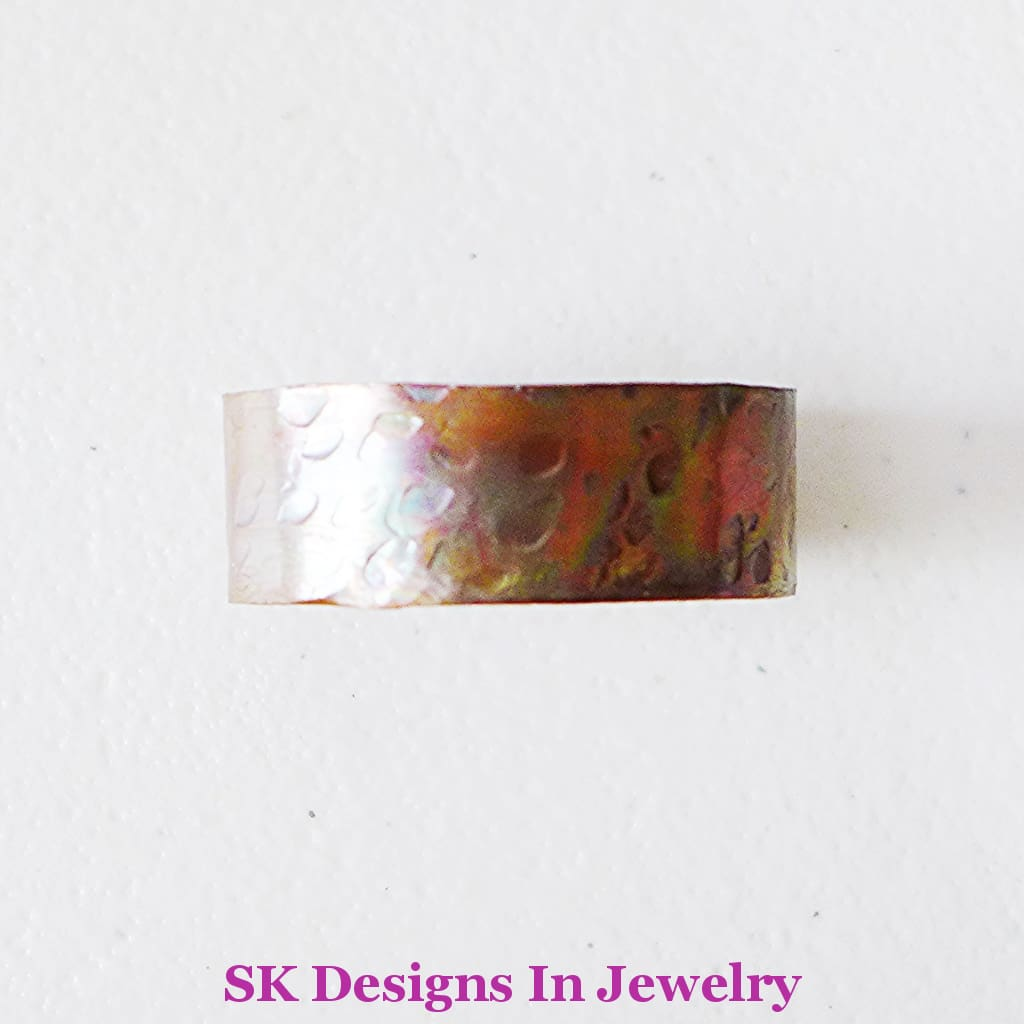 Infant Cuff Bracelet Artisan Copper Flame Painted Sealed - Safe For Infants Hammer Texture Handmade