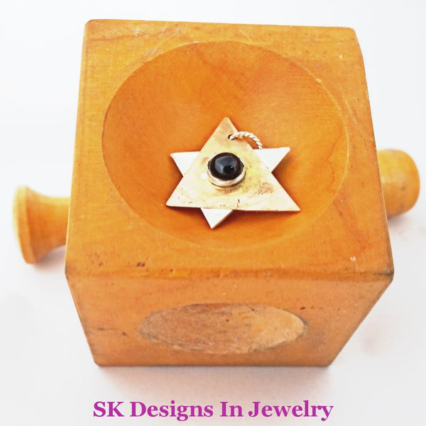 Jewish Star Of David - 14Kt Gold Filled & Sterling Silver With Garnet Accent Religious