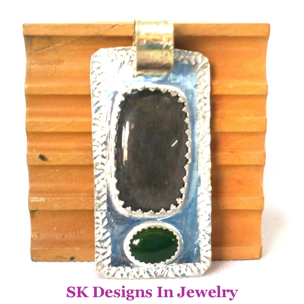 Mens Ooak Sterling Silver Fine & Brass Pendant With Obsidian And Nephrite Jade Pendants