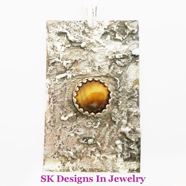 Mens Or Womens Tigers Eye Pendant - Sterling Silver Artisan Handmade In The Usa