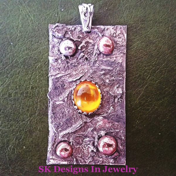 Mixed Metals 925 Sterling Silver Copper Accents - Yellow Sapphire Reticulated Pendant Mens Or Womens