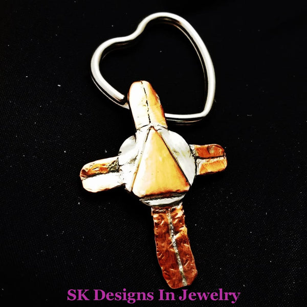 Mixed Metals Aa Symbol Cross - Pendant Or Key Chain Mens Womens Other Jewelry