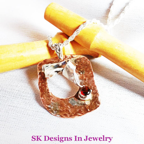 Mixed Metals Pendant With A Beautiful Red Garnet Gemstone - .925 Sterling Silver & Copper