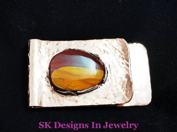 Money Clip - Copper With Mookaite Jasper Stone Business Card Holder Clips & Accessories