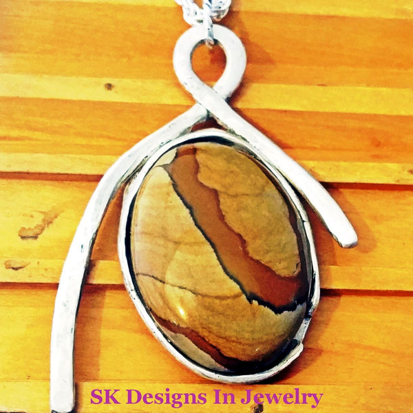 Ruggedly Handsome Picture Jasper And Sterling Silver Mens Pendant