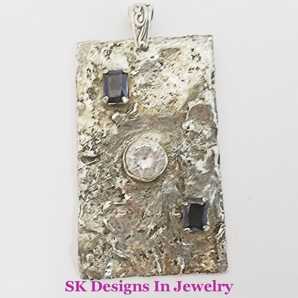 Sapphire Cubiz Zirconia .925 Sterling Silver Pendant For Men Or Women - Artisan Handmade In The Usa
