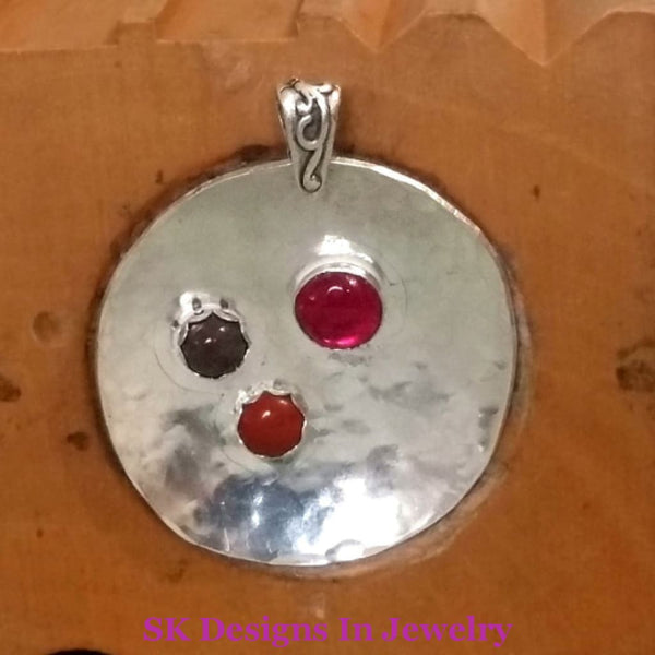 Sphere Of Circles Pendant One A Kind .925 Sterling Silver Ruby Purple Jasper Red