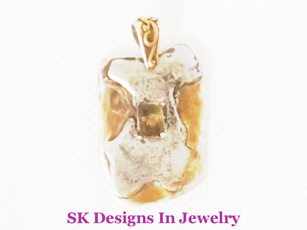 Sterling Silver 24Kt Gold Plating And Madeira Citrine Pendant Mens Or Womens