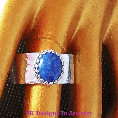 Thumb Ring 925 Sterling Silver Denim Lapis Textured Artisan Made In The Usa Handmade Us Size 11