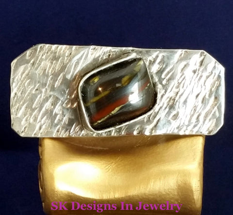 Tie Clip - 925 Sterling Silver & Tiger Iron Mens Accessories Accessories: Clips Money Etc...