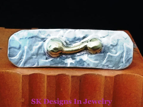 Tie Clip / Bar - Sterling Silver & 24 Kt Gold Plated Mens Accessories Accessories: Clips Money