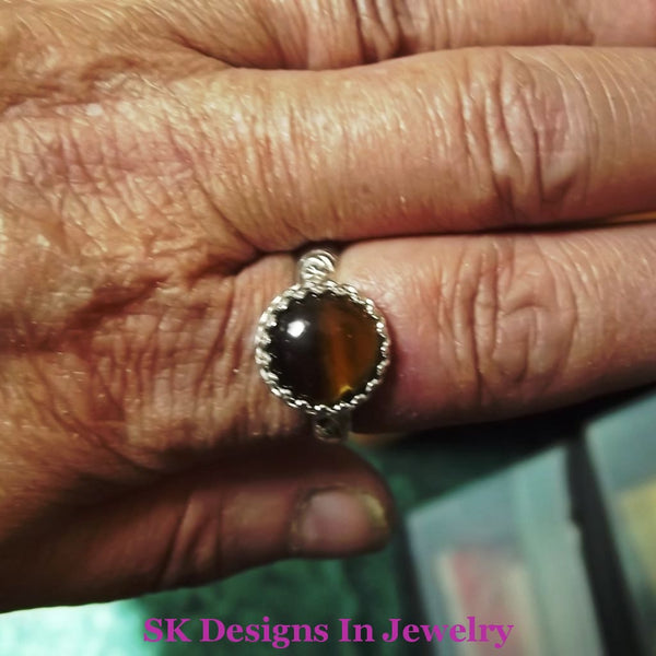 Tigers Eye Ring .925 Sterling Silver Womens Size 10 Ooak Handmade In Usa