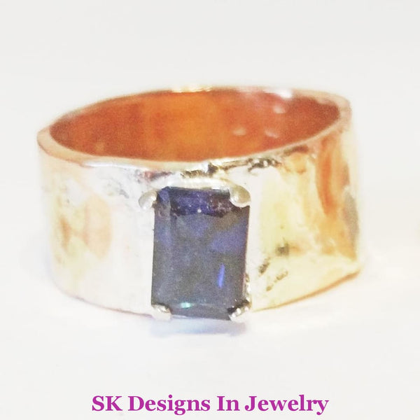 Wedding Band Set Copper And Sterling Silver Blue Sapphire Mixed Metals Rings Mens Womens Bands Ring