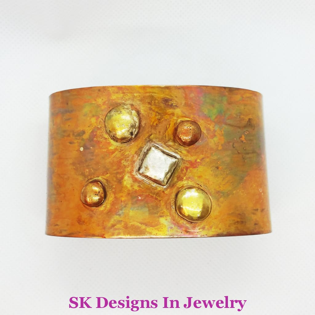 Wide Copper Cuff Bracelet - Rainbow Patina Mens Or Womens Bracelet