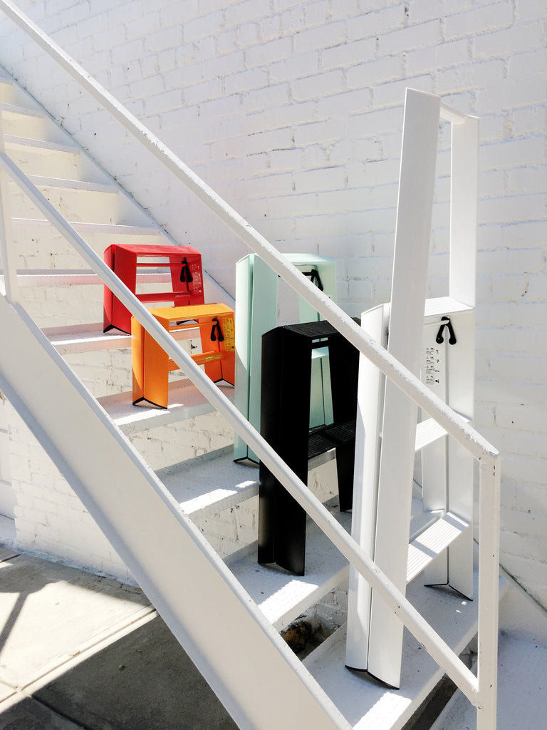 A step ladder that you'll actually love to use and want to keep out. Modern Lucano Step Ladder by Hasegawa in colorful lightweight aluminum. Japanese design that stands upright comes in 1, 2, 3 steps for kitchen, library, wardrobe closet, and office. Available at Port of Raleigh.