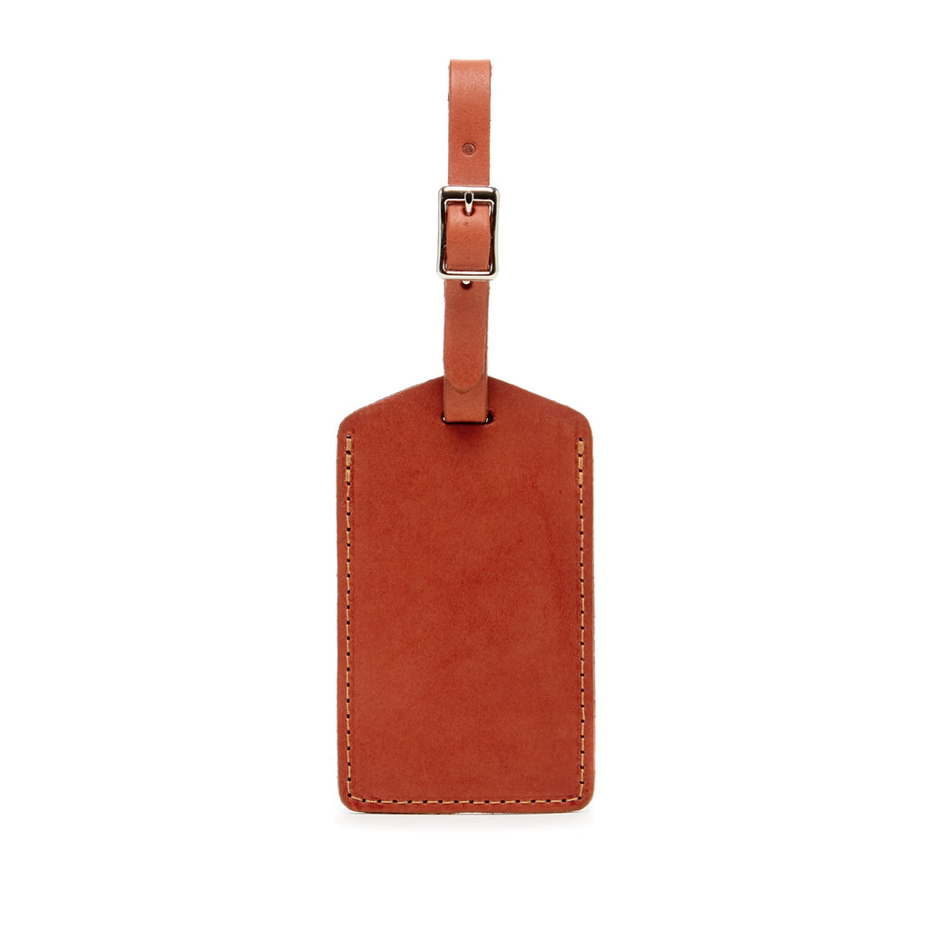 simple minimalist luggage tags made of vegetable tanned leather in Los Angeles, California USA for travel at Port of Raleigh