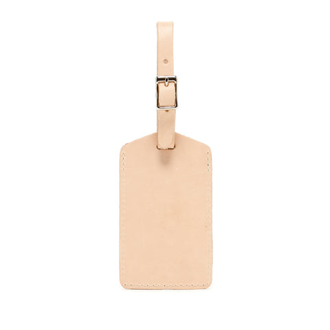 simple minimalist luggage tags made of vegetable tanned leather in Los Angeles, California USA for travel